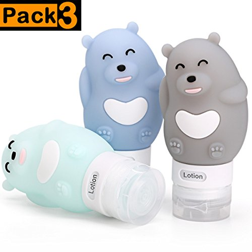 Silicone Travel Bottles - Pack of 3 Squeezable Travel Tube Sets | Leakproof Containers for Shampoo Conditioner Lotion Soap Toiletries (2.7oz)