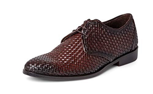 Carlos Santana Jazz Men's Designer Handwoven Oxford Dress Shoe in Blake Stitch for Style and Comfort (10.5 D US, Chocolate) ()