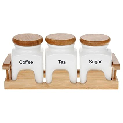 55bc80811a2c8 White Tea Coffee   Sugar Caddy Set on a Bamboo Tray  Amazon.co.uk  Kitchen    Home