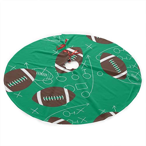 GIPO1H Retro Camper Football Scrimage Christmas Tree Skirt,Traditional Christmas Tree Mat Double Layers for Xmas Party Decoration