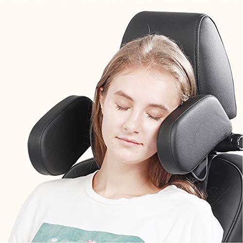 XERGUR Car Seat Headrest Pillow, Memory Foam Neck Pillow for Kids and Passenger, Adjustable on Both Sides – Sleep Better in The Car (Black)