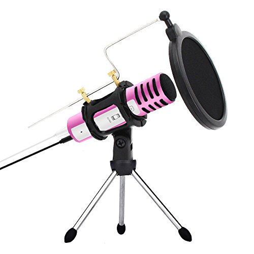 Professional Condenser Microphone Recording with Stand for PC Computer iPhone Phone Android Ipad Podcasting, Online Chatting Mini Microphones by XIAOKOA (A1-Pink)