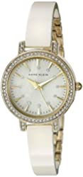 Anne Klein Women's AK/2180IVGB Swarovski Crystal Accented Gold-Tone and Ivory Ceramic Bangle Watch