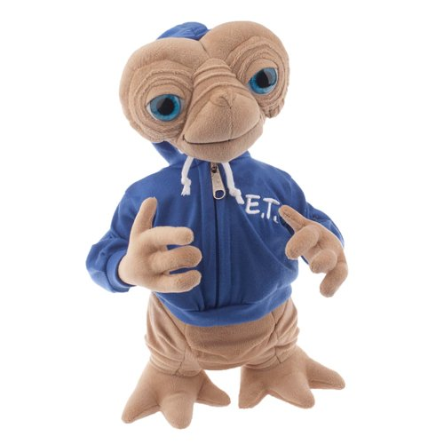 """Universal E.T. Extra Terrestrial with Blue Embossed Hoodie Sweatshirt 15"""" Plush Doll from Universal Studios"""
