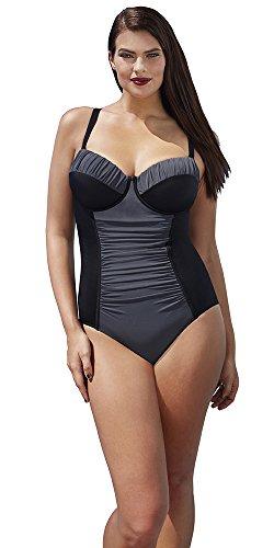39cb34dbf09 Tropiculture Women s Charcoal Control Underwire Swimsuit 14 Black