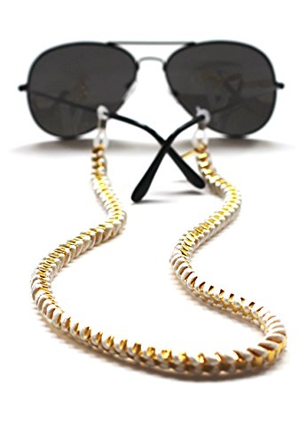 Sintillia Festive Chain Sunglass Strap, Glasses Chain, Eyeglass Cord (White with Clear - Croakies Cute