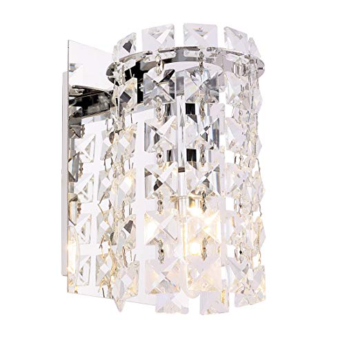 Wall Sconce with Crystal Drops,Polished Chrome Finish,Cylinder Wall Light Fixtures for Living Room,Bathroom,Bedroom and Hallway