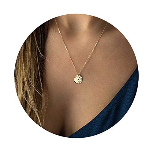 Fettero Necklace for Women Dainty Handmade 14K Gold Fill Carved Full Round Moon Phase Pendant Wafer Chain Minimalist Jewelry ()