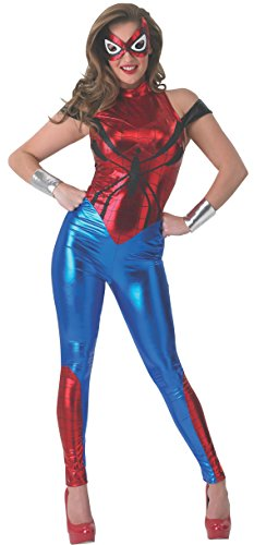 Secret Wishes Women's Marvel Universe Spider-Girl Costume Cat Suit and Eye Mask, Multicolor, (Spiderman Costume For Women)