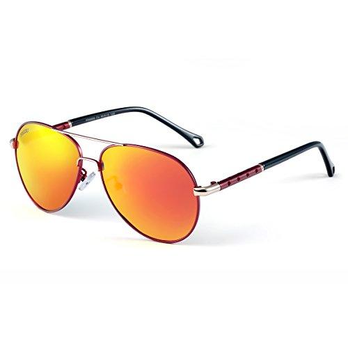FD Unisex Aviador Polarizadas FEIDU Sol Gafas Rojo de 9001 gpRq1xAa