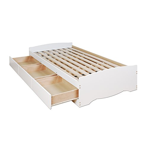 White Twin Mate's Platform Storage Bed with 3 Drawers (Platform 3 Drawer Storage)