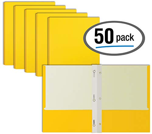 Yellow Paper 2 Pocket Folders with Prongs, 50 Pack, by Better Office Products, Matte Texture, Letter Size Paper Folders, 50 Pack, with 3 Metal Prong Fastener Clips, Yellow ()