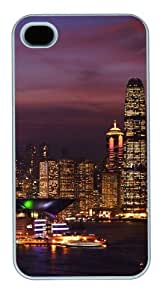 iphone 4 case rugged covers Starry night view of the city PC White for Apple iPhone 4/4S