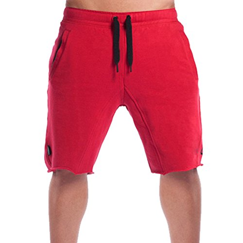Lined Tennis Shorts (BROKIG Men's Fitted Jogging Shorts, Casual Cotton GYM Fitness Bodybuilding Active Running Short Pants (XL, Red))