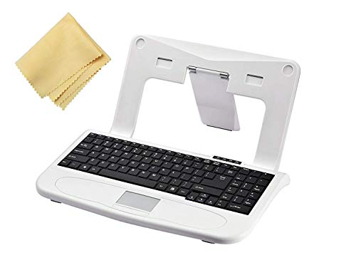 (Laptop Stand Keyboard Combo with Microfiber Screen Cleaning Cloth - Laptop Stand Keyboard Mouse | Keyboard and Stand Keeps Laptop Eye Level | Wired USB Connection and Integrated Mousepad)