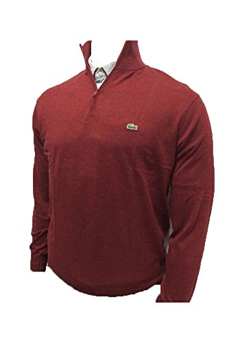 Lacoste Mens 1/4 Zip Pullover Sweater Maroon