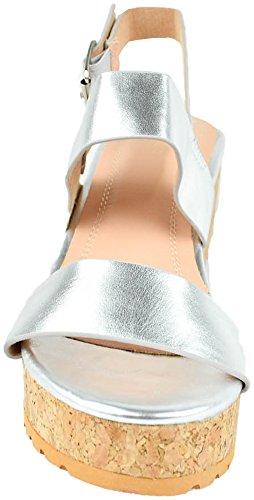 Cambridge Selezionare Donna Fascia Doppia Caviglia Strappy Flatform Piattaforma Con Zeppa Sandalo Argento Metallizzato