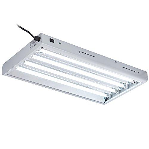 Hongruilite 2FT / 4FT T-5 HO Fluorescent Lighting Kit 4 / 6 / 8-Bulb 24W / 54W 6500K Lamp Included for Indoor Growing T5 Grow Lights Fixtures (24W 4-Bulb (2FT))