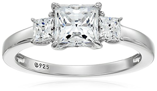 Platinum-Plated Sterling Silver Princess-Cut 3-Stone Ring made with Swarovski Zirconia (2 cttw), Size 9