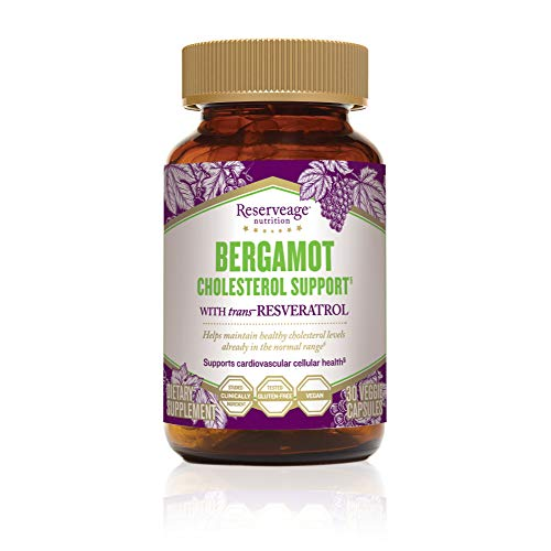 Reserveage - Bergamot Cholesterol Support, Helps Maintain Balanced Cholesterol Levels to Aid Heart and Cardiovascular Health with Bergamot, Resveratrol, and Olive Leaf, Gluten Free, Vegan, 30 Capsules