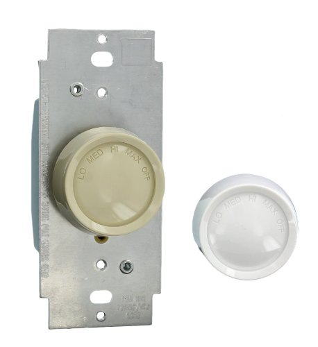 Leviton 6639-IW 1.5-Amp 120-Volt AC 60Hz Single-Pole Trimatron Quiet Step Electro-Mechanical Rotary Fan Speed Control, White