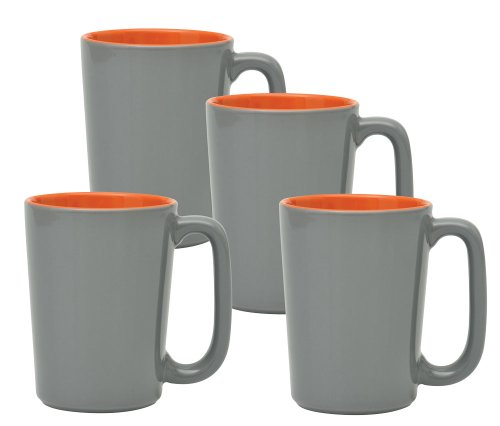 Culver SLAT Mug, 16-Ounce, Grey Orange, Set of 4