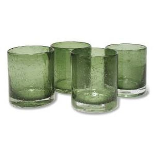 Artland Iris Double Old Fashioned Glasses, Sage, Set of - Four Double Fashioneds Old