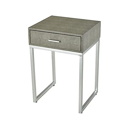 Sterling Industries 3169 068 Les Revoires   24u0026quot; Side Table, Grey Faux  Shagreen