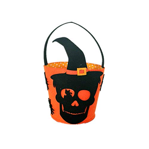 OrangeDolly Halloween Basket|Halloween Party Supplies|Day of The Dead Basket|Skull décor|Halloween Decorations|Skeleton Halloween Decorations Felt -