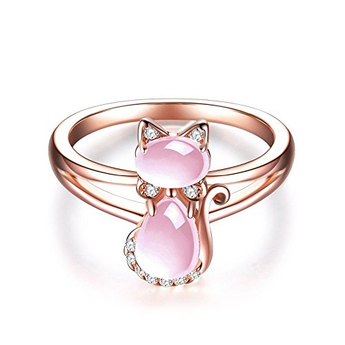 (Rose Gold Pear Cut Rose Quartz Ring Cute Kitty Cat Shape Women Fashion Jewelry By Wat)