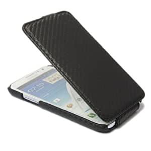 Viesrod Carbon Fiber Leather Flip Skin Case Cover for Samsung Galaxy Note 2 II N7100 Black + 1 gift