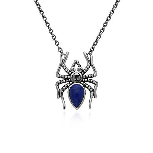 Gemondo Lapis Lazuli Necklace, Sterling Silver 1ct Lapis Lazuli & 0.12ct Marcasite Turtle 45cm Necklace ()