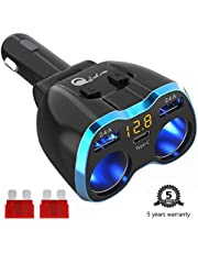USB C Car Charger Cigarette Lighter Splitter, Qidoe 80W 2-Socket 12V/24V Car Power Adapter with 5.8A Dual USB Car Charger for GPS, Dashcam, SatNav, iPhone, iPad, Android etc