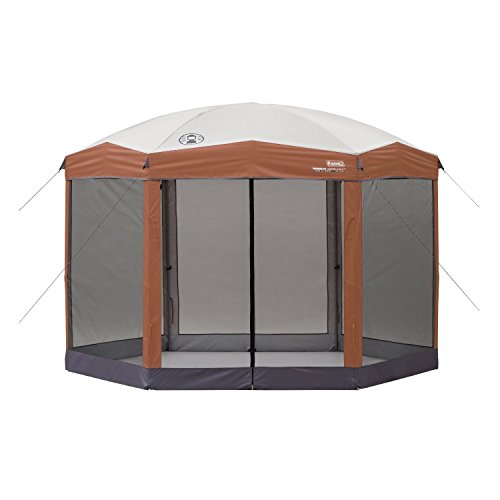 Instant 12ft x 10Ft Hexagon Screened Canopy Gazebo with Removable Insect Screen For Sale