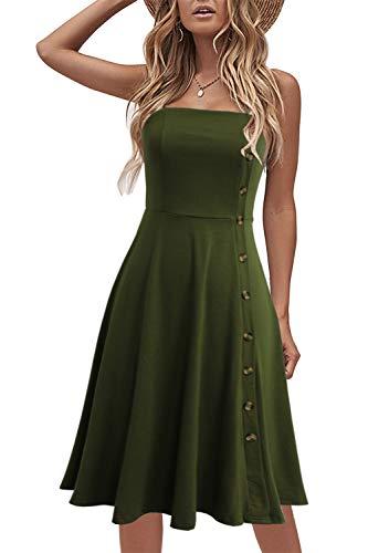 Liyinxi Womens Sexy Sleeveless Knee Length Strapless Button Down Summer Stretchy Cute Backless Flowy Army Green Sundress (XL, 8006-Army Green)