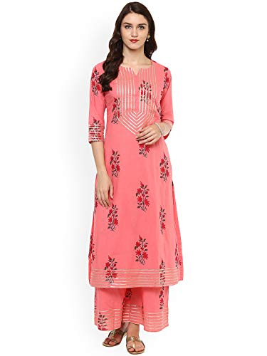 (Women Pink Printed Kurta with Trousers Full Set Dream Angel Fashion (XX-Large-42))