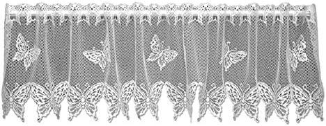 HeritageLace White Butterflies Window Valance 60 x15