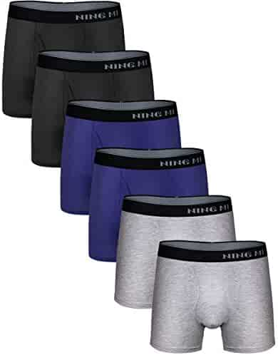 6a0ff1aea NINGMI Mens 6-Pack Boxer Briefs Soft Modal Cotton Open Fly Pouch No Ride-