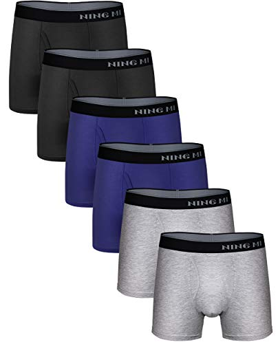 (NINGMI Mens 6-Pack Boxer Briefs Soft Modal Cotton Open Fly Pouch No Ride-up )