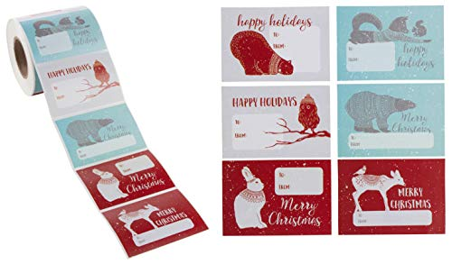 (Gift Label Stickers - 504-Count Christmas Gift Tag Stickers - to and from, Peel and Stick Self Adhesive Present Labels for Holiday Gift Box, Wrapping Paper, Gift Bag, 6 Animal Designs, 2 x 3 Inches)