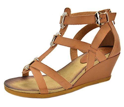 DREAM PAIRS Mulan Womens Gladiator Adjustable Buckles Straps Low Wedge Back Zipper Summer Sandals Camel Size 8 by DREAM PAIRS