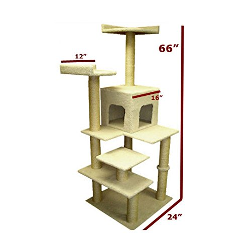 "66"" Bungalow Sherpa Cat Tree"