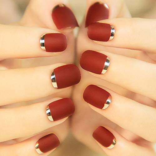 (Jienie 24Pcs Bordeaux Metal Frosted Short False Nail Turnover French Style Full Finished Matte Artificial Nails Tips - (Color: Black) )