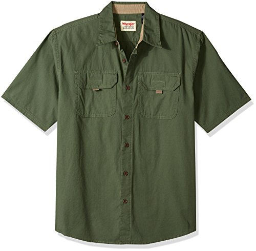 Wrangler Authentics Men's Short Sleeve Canvas Shirt, Beetle, XL