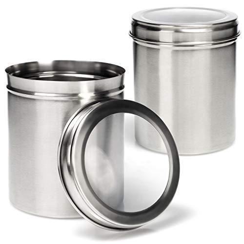 COM-FOUR 2x Lata de almacenamiento con tapa - Caja de almacenamiento de metal - Lata de metal para cafe, te, hierbas y especias - Lata de hierbas con 1000 ml