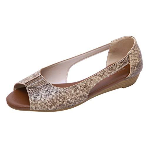 Toimothcn Flat Sandals for Women Open Toe Slip on Pu Shoes Summer Low Heels Strappy Sandal (Beige2,US:8)