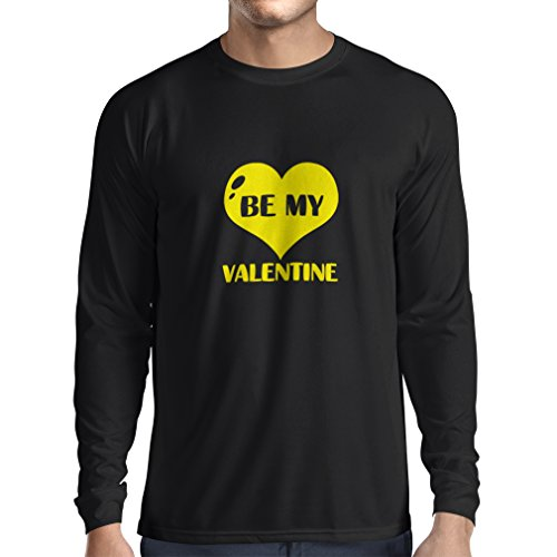 Long Sleeve t Shirt Men Be My Valentine, Quotes About Love Great Gift (XXX-Large Black Yellow)