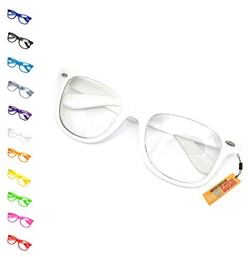 United States of Oh My Gosh Costume Nerd Glasses - 11 Colors Men, Women, Children #1 Glasses US of OMG - White