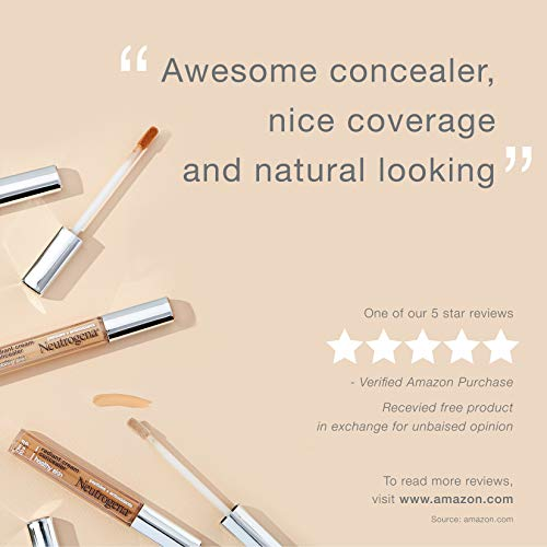 Neutrogena Healthy Skin Radiant Brightening Cream Concealer with Peptides & Vitamin E Antioxidant, Lightweight Perfecting Concealer, Non-Comedogenic, Bisque Light/Medium 02 neutral undertones, 0.24 oz