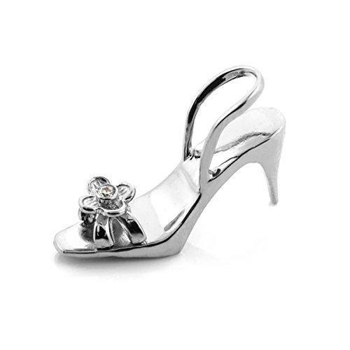 10 ct 471/1000 Or Blanc 3D Schuh Oxyde de Zirconium Pendentif